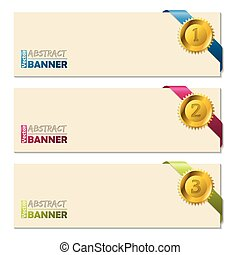 Banners with gold pendent and ribbons - Cool banners with...