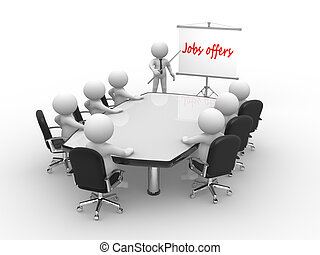 Jobs offers - 3d people - man, person at conference table...