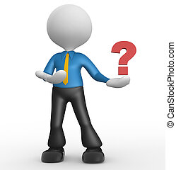 Question mark - 3d people - man, person and question mark
