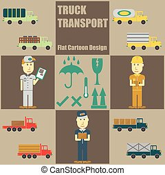 Truck Transport People Flat Cartoon Design