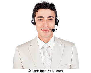Attractive customer service representative using headset...