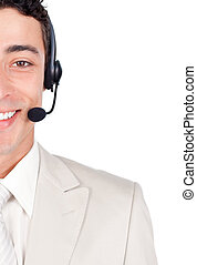 Delighted customer service representative using headset