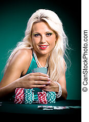 poker girl - young a woman playing poker