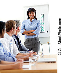 Assertive ethnic businesswoman doing a presentation to her...