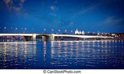 St. Petersburg, night landscape. View of the Foundry Bridge