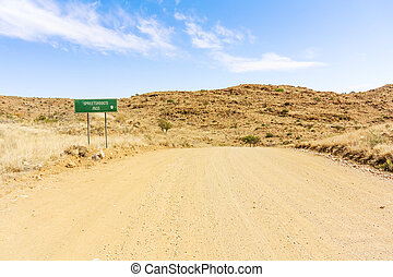 Road sign for Spreetshoogte Pass in Namibia - Spreetshoogte...