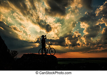 空, バイカー, シルエット, 自転車, 背景
