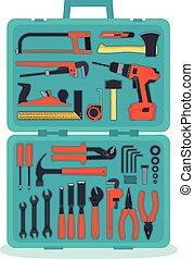 Tools in a tools box