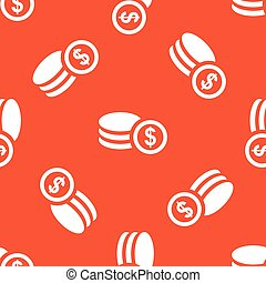 Orange dollar rouleau pattern - Rouleau of dollar coins,...