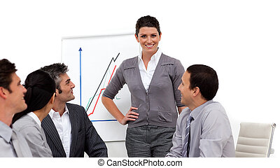 Charming businesswoman giving a presentation