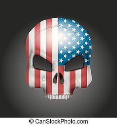 Skull with USA flag - Skull with texture USA flag Vector...