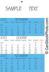 english calendar 2010 october, abstract art illustration