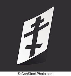 Monochrome orthodox cross sticker - White sticker with black...