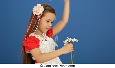 Girl Broke Off The Petals Of A Flower - Little girl breaks...