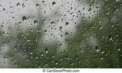 Raindrops on a windowpane - Taken with a tripod