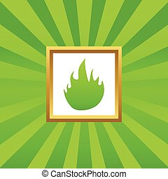 Fire picture icon - Image of flame in golden frame, on green...