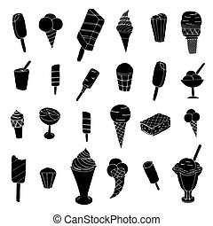 ice cream - Collection of cute vector ice cream. Cones and...