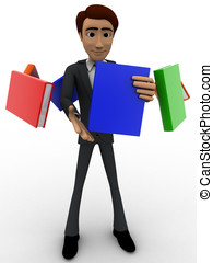 3d man with flying books around him concept