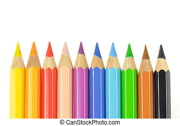 crayons - colored pencils on white background