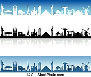 Vector World Monuments skyline - Skyline Illustration of...