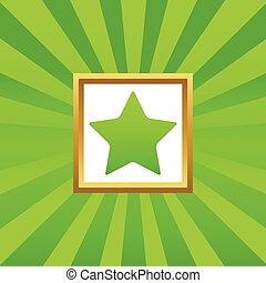 Star picture icon - Image of star in golden frame, on green...