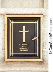 cemetery registerAttached to the wall before entering the...