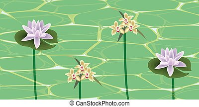 Flowers on a water surface. Beautiful flowers on the water...