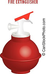 Round fire extinguisher 3D, isolated against white...