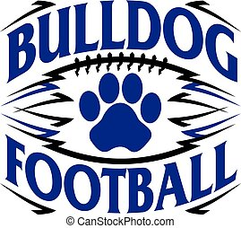 bulldog football design with paw print inside ball
