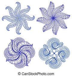 Set of blue floral ornaments, isolated on white background....