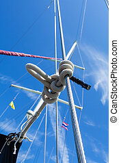 Knot of the rope on on sailing yacht travel from Ko Samui to...