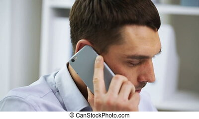 businessman with calling on smartphone - business, people,...