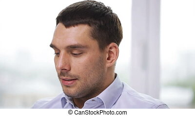 businessman talking to someone at office - business, people...