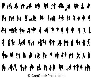 people walking - Black silhouettes of people walking, vector
