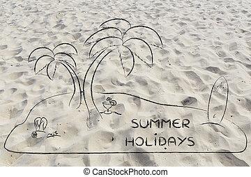 Desert Island with text Summer Holidays - Desert island...