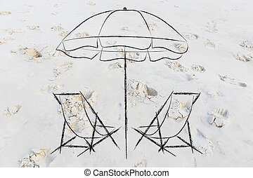 holidays and travel: beach chairs and umbrella on sand -...