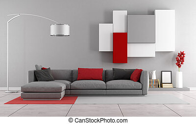 Contemporary lounge with gray sofa and wall unit on...