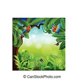 Tropical jungle with animals vector background