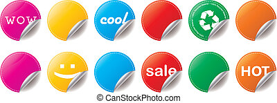 Peeling Stickers - Set of bright color peeling stickers