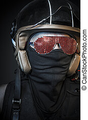 Nightmare rider, biker with sunglasses red crystals and balaclava