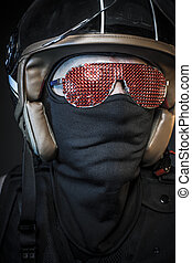 Terror rider, biker with sunglasses red crystals and balaclava