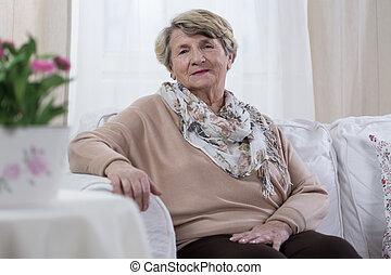 Elderly melancholic lady - Melancholic elderly pensioner...