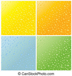 Water Background - Set of four realistic dew drops water...