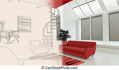 3D interior with half in sketch phase