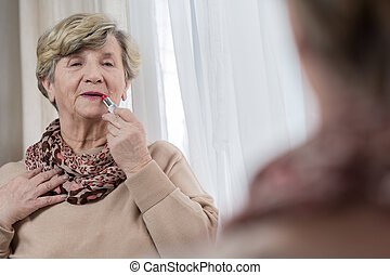 Preparing for going out - Elderly woman's daily routine...