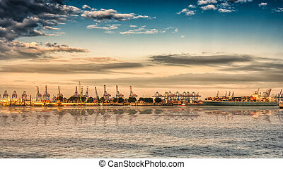 Loading terminal at Hamburg port - Wide angle view of the...