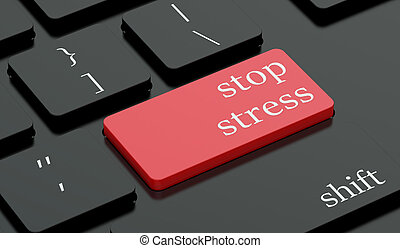 Stop stress concept red hot key on  keyboard