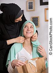 caucasien, girl, et, Hijab,