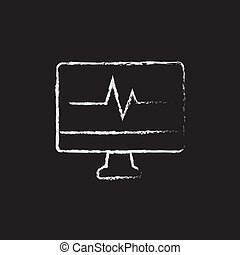 Heartbeat display on monitor drawn in chalk