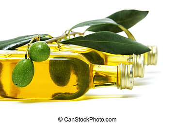 olive oil - bottle of oil olive  on a white background